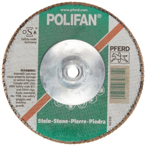 PFERD Polifan SG Abrasive Flap Disc, Type 27, Threaded Hole, Phenolic Resin Backing, Silicon Carbide, 7 Dia., 80 Grit (Pack of 1)
