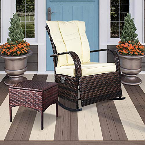 SCYL Color Your Life Indoor & Outdoor PE Wicker Rocking Chair Porch Garden Lawn Deck Auto Adjustable Rattan Reclining chiar Patio Furniture w/Water-Proof Cushion and Coffee Table (Drying Patio Coffee)