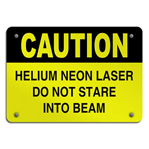 (Aluminum Weatherproof Metal Sign Multiple Sizes Caution Helium Neon Laser Do Not Stare Into Beam Flammable 24INx18IN Horizontal Street Signs Set of 10)