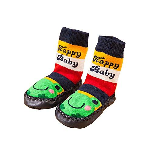 3pares bebé bebé niños primera–Zapatos de Senderismo Antideslizante interior invierno caliente Terry calcetines botines zapatillas casa calcetines Mocasín edad 0–61824meses (6–18meses) Tall