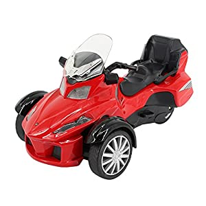 Multifit Kids 1:16 Die Cast Pullback 3 Wheel Motorcycle Toddler Music Lighting ATV Bicycle Gift Car(Red)