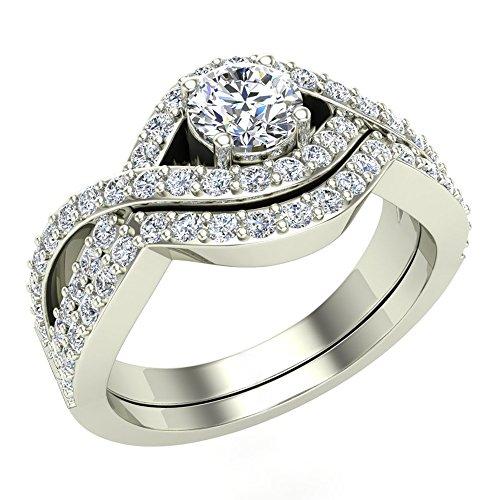 Criss Cross Intertwined Diamond Wedding Ring Set 1.10 Carat 14K Gold (G,I1) Premium Quality