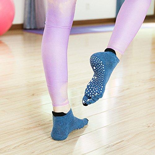 GuiXinWeiHeng 10 pcs Yoga chaussettes exercice cinq doigt chaussettes dames coton chaussettes anti-slip chaussettes cinq doigt chaussettes (couleur aléatoire)