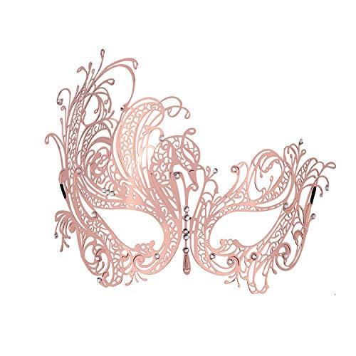 Luxury Masquerade Mask for Women Metal Rhinestone Venetian Eye Mask Rose Gold -