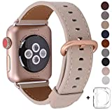 JSGJMY Compatible Iwatch Band 38mm Women Light tan Vintage Genuine Leather Replacement Loop Strap with Series 3 Gold Metal Clasp Compatible Iwatch Series 3 Gold Aluminum
