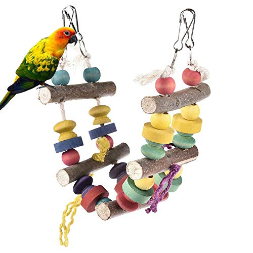 kathson Bird Ladder Toys, Wooden Parrot Perch Swing Toy Cage Accessories for Variety Birds Like Parakeet Budgies…