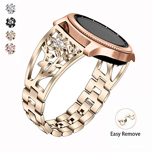 (Metal Bracelet Compatible with Galaxy Watch 42mm/46mm Bands Women 20mm Luxury Stainless Steel Jewelry Floral Hollow Bangle for Samsung Galaxy by YvY)