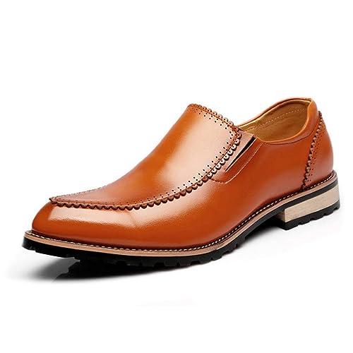le plus en vogue large sélection dernière mode Chaussure de Cuir Pointue sans Lacet Basse Souple pour Homme ...