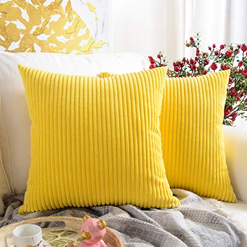 MERNETTE Pack of 2, Corduroy Soft Decorative Square Throw Pillow Cover Cushion Covers Pillowcase, Home Decor Decorations for Sofa Couch Bed Chair 20x20 Inch/50x50 cm (Striped Lemon Yellow)
