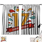 Jinguizi 17th Birthday Curtains/Panels/Drapes Digital Pop Art Style Print Seventeen Party with Floral Details Image Print Background Darkening Curtains Multicolor W55 x L39