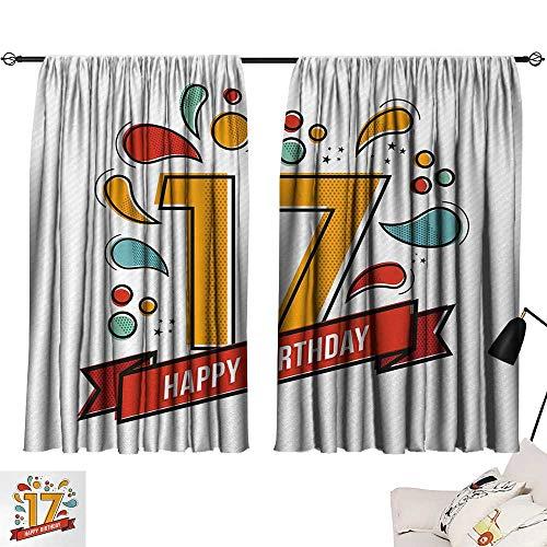 Jinguizi 17th Birthday Curtains/Panels/Drapes Digital Pop Art Style Print Seventeen Party with Floral Details Image Print Background Darkening Curtains Multicolor W55 x L39 by Jinguizi (Image #6)