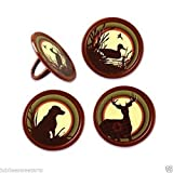 WONTTERFLY 12 COUNT HUNTING FATHERS DAY DEER DUCK LAB CUPCAKE RINGS PARTY FAVORS
