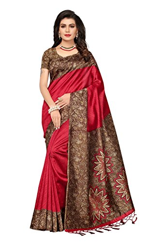 ishin Women's Art Silk/Blended Mysore Silk Printed Saree/Sari With Tassels Free Size Red