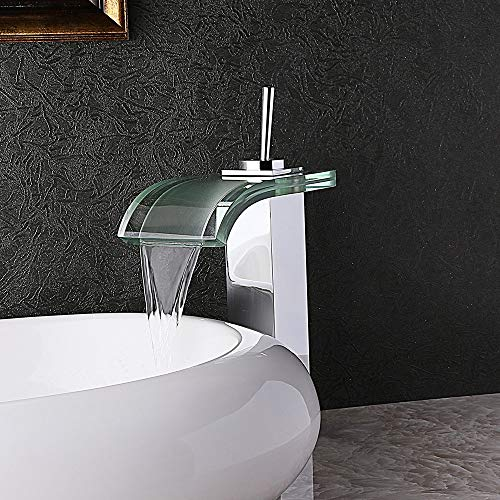 AUXO Contemporary Co-crystal Single Hole Deck-mounting Single Lever Waterfall Commercial Bathroom Vessel Sink Faucet Curved Glass Spout Sink Vanity Filter Polished Chrome