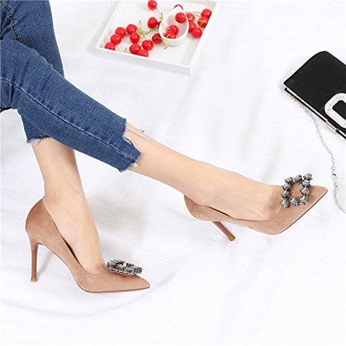 Shoes 9Cm Point With MDRW Shallow Shoes Single Heels Leisure High Shoes 36 Mauve Fine Occupation Buckle Work Temperament Mouth Lady Spring Elegant Sexy Rhinestone wq4FzU
