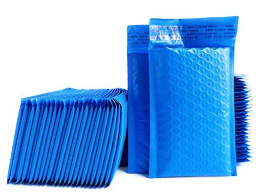 Kelkaa #000 Blue Poly Bubble Mailers Bulk Self Seal Padded Envelopes 4' x 8' Shipping Bubble Mailer Bags (Pack of 50)