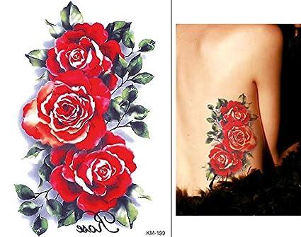 Tatuaje de rosas para festivales y flores Km199: Amazon.es: Belleza