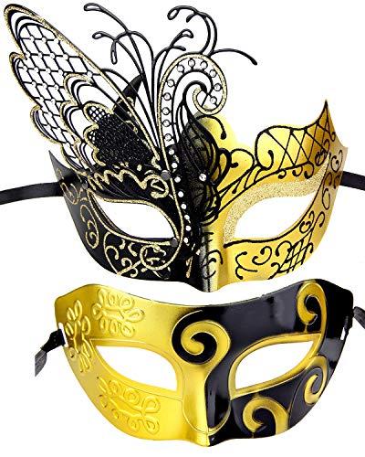 IETANG Couple Mask Half Venetian Masquerade Ball Mask Party Costume Accessory -