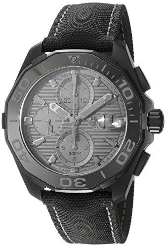 TAG Heuer Men's 'Aquaracracer' Swiss Automatic Titanium and Canvas Dress Watch, Color:Black (Model: CAY218B.FC6370)