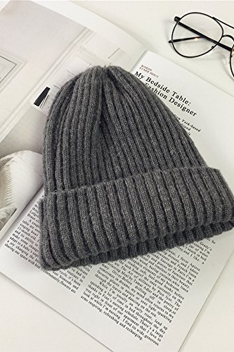 wool cap knitted hat cap women girls autumn winter cashmere turtleneck solid color casual warm ear hats for men women (a silent - dark gray