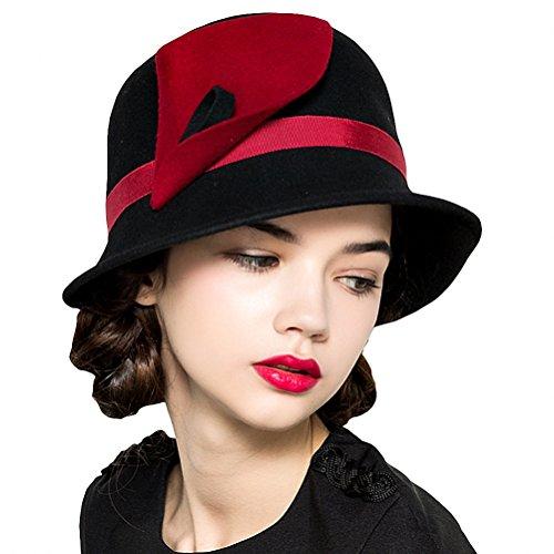 Maitose Women's Wool Felt Flowers Church Bowler Hats Black