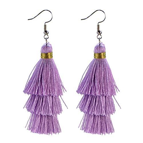 AD Beads Fashion Charm Crystal Silk Tassel 3 Layers Fan Fringe Dangle Earrings (20 Violet)