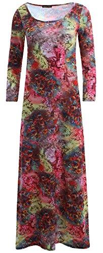 Neue Frauen Plus Size Plain Lange Jersey Scoop Neck Maxikleid 36-54