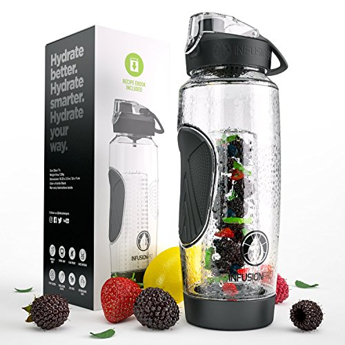 Infusion Pro 32 oz. Infused Water Bottle bpa Free Insulated Sleeve & Fusion eBook :: Bottom Loading, Large Cage More Flavor & Pulp Strainer :: Delicious, Healthy Way to up Your Water Intake