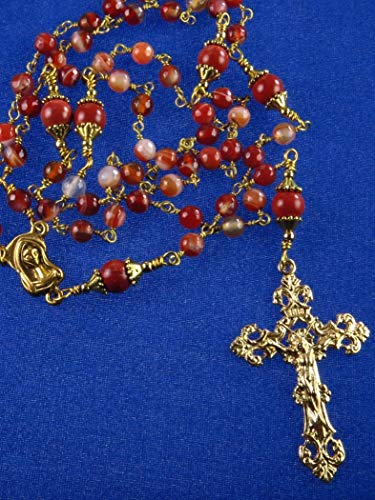 Agate Red Handmade (Catholic Rosary Handmade Unbreakable Red Agate and Natural Red Stone and Gold Tone Cross)