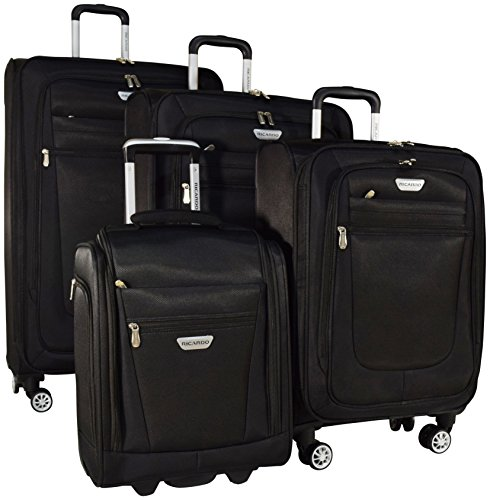 Ricardo Eureka 4 Piece Deluxe Superlight Luggage Set: 30'', 26'', 21'', and Underseat Bag (Black) by Ricardo Beverly Hills