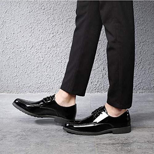 in Classiche Derby da Nozze Formali Uomo Black Uomo Scarpe Scarpe Eleganti Scarpe Pelle di Stringate da Festa da Verniciata Sxwfaq50Z