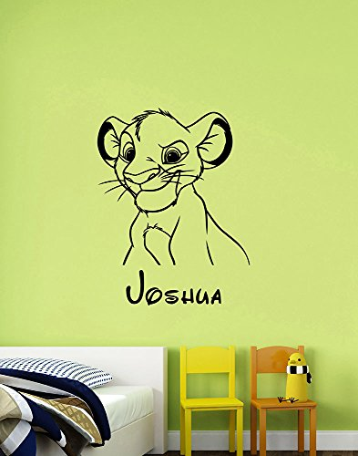 Custom Name Simba Wall Decal Vinyl Sticker Disney Art Lion King Decorations for Home Kids Boys Room Nursery Bedroom Personalized Decor ling14