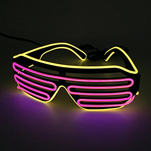 Two Color Mixed EL Wire Glasses LED Light Up Rave Party Glasses For Night Club and Ball Party(Yellow Frame+Pink) by YEAHUI EL