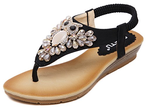 Sandals Heels Black IDIFU Women Wedge Shoes Bohemia HwqqaTzx