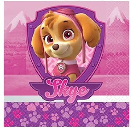Girl Pups Paw Patrol 16 Pack Lunch Napkins Birthday Party Supplies Skye Everest