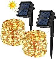 [2 Stück] Solar Lichterkette Aussen, BrizLabs 12M 120 LED Außen Kupferdraht Lichterkette