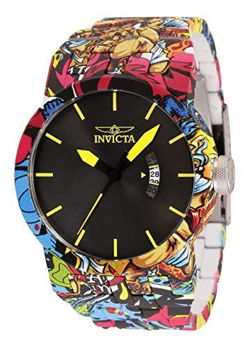 Reloj Invicta DNA de cuarzo para hombre con correa de acero inoxidable, plateado, baño de aguamarina, 33,5 (modelo: 34488)