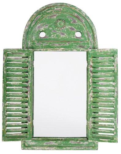 Esschert Design WD12 Mirror Louvre Distressed, Green Finish
