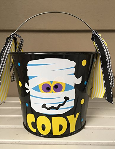Personalized 5 quart Halloween pail- Mummy design -