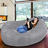 Gigantic Bean Bag Chair in Steel Grey with Memory Foam Filling and Machine Washable Cover- Comfortable Cozy Lounge Sack to Chill - Huge Bed, Large Sofa, Cozy Lounger - Kids, Adults & Teens