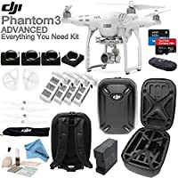 DJI Phantom 3 Advanced Everything You Need Kit With Hardshell Backpack & eDig Kit: Includes 4 Piece Filter Kit, 4 Intelligent Flight Batteries, 4 Battery Charging Hub, 2 Sets of Propellers and more...