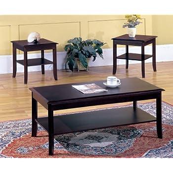 Kings Brand Furniture 3 Piece Wood Occasional Coffee Table \u0026 2 End Tables Set Cherry  sc 1 st  Amazon.com & Amazon.com: Zinus Modern Studio Collection Rectangular Coffee Table ...