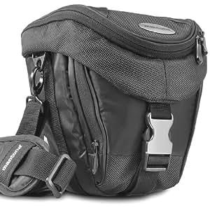 Mantona Premium - Funda para cámara reflex (correa para hombro, cierre de cremallera y clip), color negro
