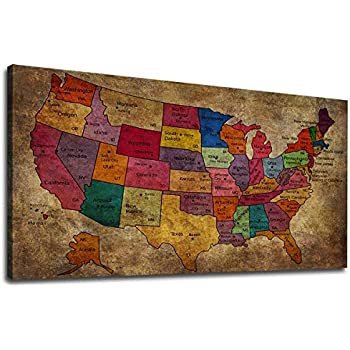 Us Map Artwork.Amazon Com Canvas Wall Art United States Map Painting Long Map