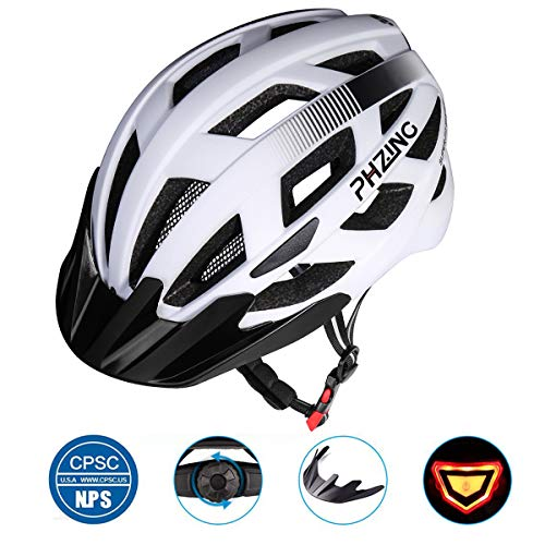 (PHZ Adult Bike CPSC Certified Helmet with Rechargeable Led Back Light/Detachable Visor Ideal for Road Ride Mountain Bike Bicycle for Men and Women)