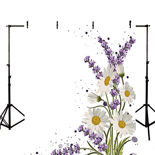 Lavender Stylish Backdrop,Vivid Bouquet with Daisies Color Slashes Scenic Modern Artistic Decorative for Photography,118