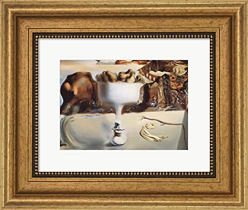 Salvador Dali Dish - Apparition of Face and Fruit Dish on a Beach, c.1938 by Salvador Dali Framed Art Print Wall Picture, Wide Gold Frame, 13 x 11 inches