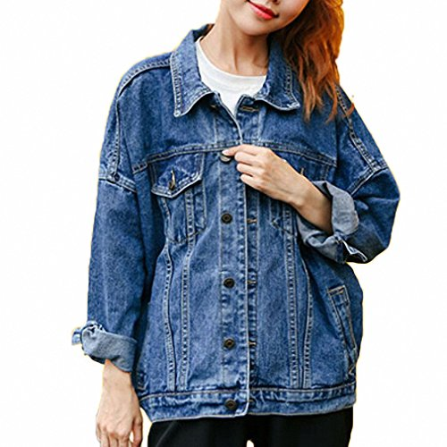 Huiwa Womens Denim Jacket BF Denim Jakcet Long Sleeve Jeans Coat at Amazon Womens Coats Shop