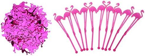 パーティー デコレーション フラミンゴ 10本の攪拌棒 紙吹雪15g 雰囲気作りましょ