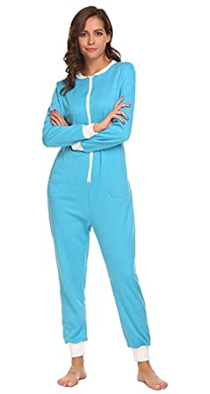 4c95b66bca8c Sweetnight Women Long Sleeve Sleepwear V Neck Nightwear Pajamas Onesies  Playsuit for Adults (XL